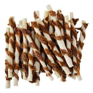Runderhuid twist stick met uier 25,5 cm
