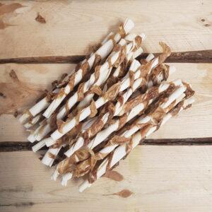 25 stuks voordeelbundel | Runderhuid twist stick met uier 25,5 cm